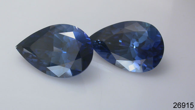 Blue Sapphire Gemstones: faceted lab grown created sapphires
